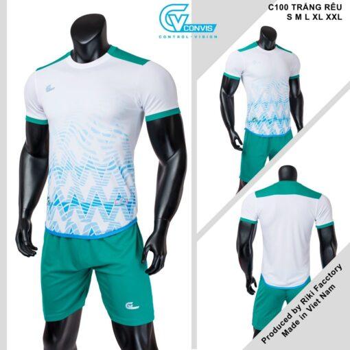 Áo bóng đá không logo Riki CONVIS-C100 màu xanh rêu