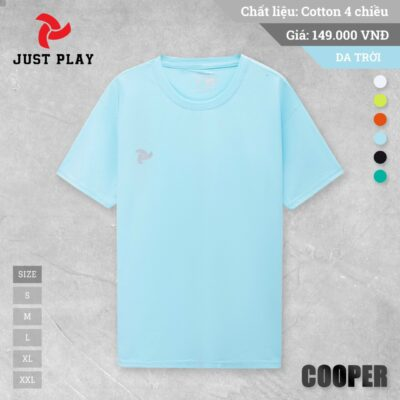 Áo thun cotton Cooper 4 chiều màu xanh da