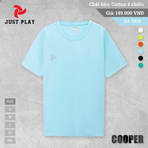 Áo thun cotton 4 chiều Cooper màu Xanh da