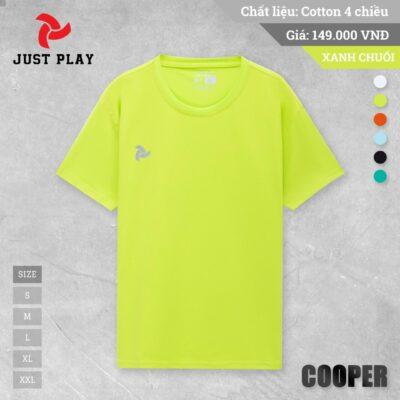 Áo thun cotton Cooper 4 chiều màu xanh dạ quang