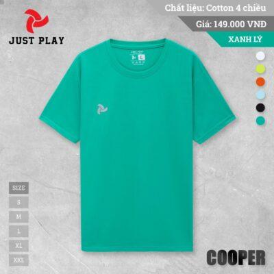 Áo thun cotton Cooper 4 chiều màu xanh cổ vịt