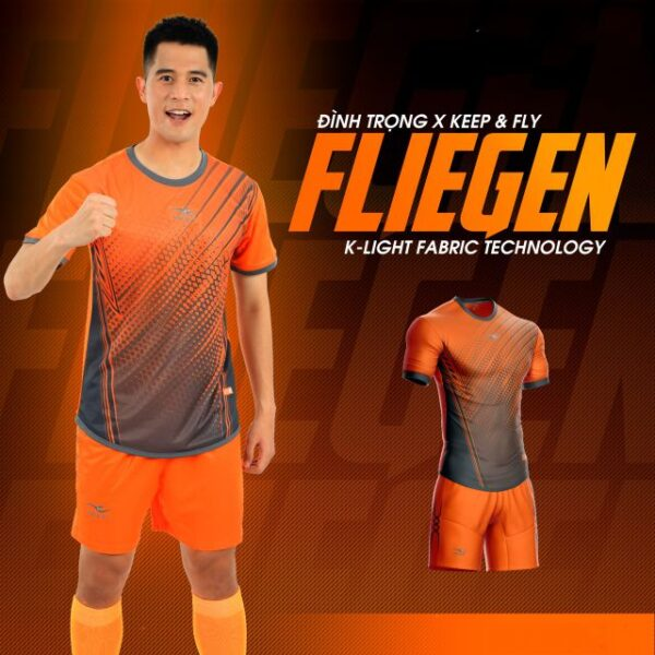 Áo bóng đá không logo Keep&Fly - Fliegen màu Cam