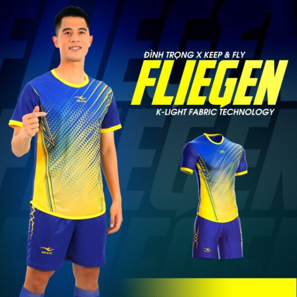 Áo bóng đá không logo Keep&Fly - Fliegen màu Xanh bích