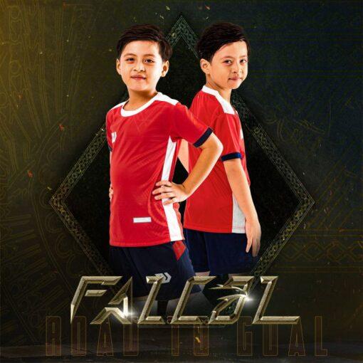 Áo bóng đá trẻ em không logo BU- Falcol màu Đỏ