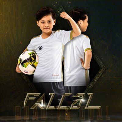Áo bóng đá trẻ em không logo BU- Falcol màu Trắng