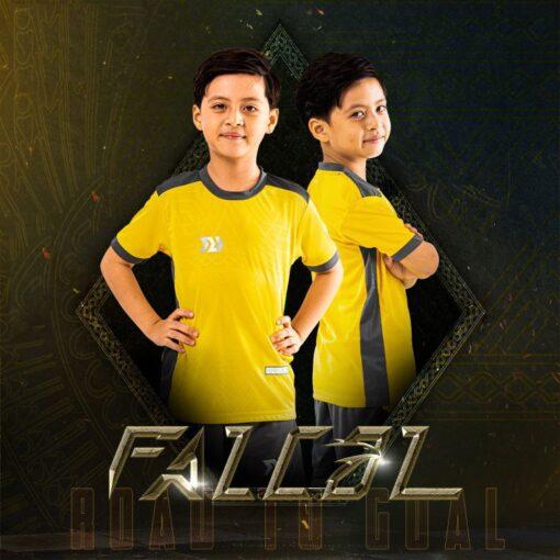 Áo bóng đá trẻ em không logo BU- Falcol màu Vàng