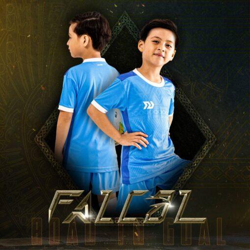 Áo bóng đá trẻ em không logo BU- Falcol màu Xanh da
