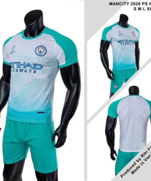Quần áo Man City vải mè thái màu Xanh Ngọc