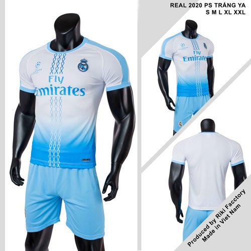 Quần áo bóng đá CLB Real Madrid màu Xanh da