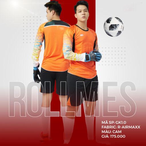Áo thủ môn không logo thiết kế RIKI - ROLLMES vải mè R-Airmaxx cao cấp màu cam