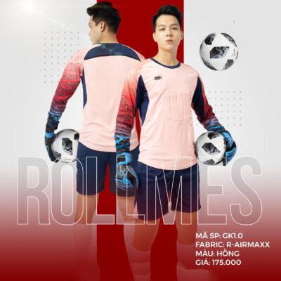 Áo thủ môn không logo thiết kế RIKI - ROLLMES vải mè R-Airmaxx cao cấp màu hồng