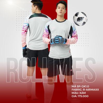 Áo thủ môn không logo thiết kế RIKI - ROLLMES vải mè R-Airmaxx cao cấp màu trắng