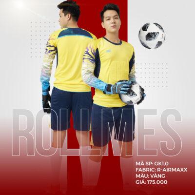 Áo thủ môn không logo thiết kế RIKI - ROLLMES vải mè R-Airmaxx cao cấp màu vàng