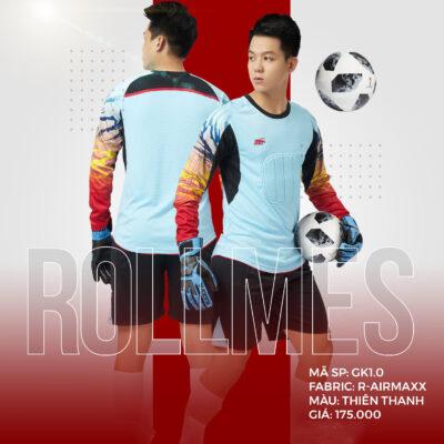 Áo thủ môn không logo thiết kế RIKI - ROLLMES vải mè R-Airmaxx cao cấp màu xanh da