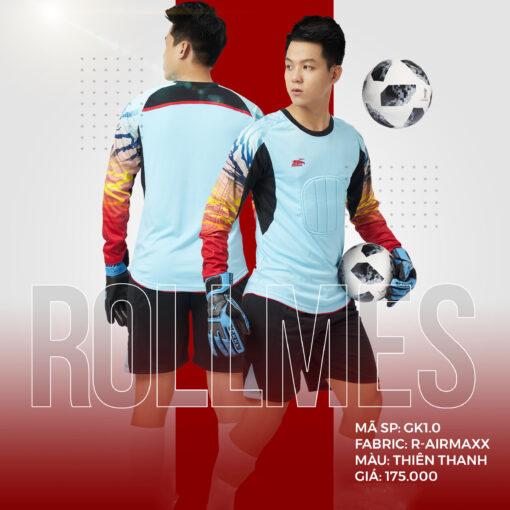 Áo thủ môn không logo thiết kế RIKI - ROLLMES màu xanh da