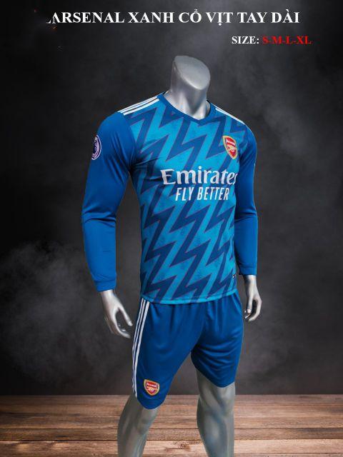 Quần áo bóng đá tay dài CLB Arsenal màu Xanh cổ vịt giải 21-22