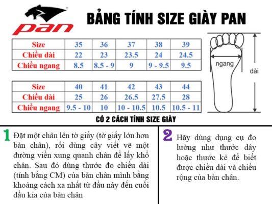 Bảng size giày pan