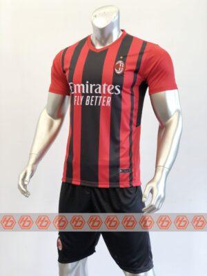 Áo AC Milan sân nhà màu đỏ sọc đen 2021-2022 2
