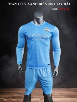 Quần áo bóng đá tay dài CLB Man City màu Xanh biển mùa giải 21-22