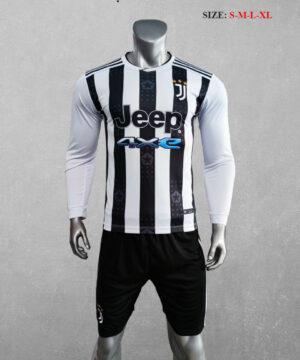 Quần áo bóng đá tay dài CLB Juventus màu Trắng sọc đen mùa giải 21-22