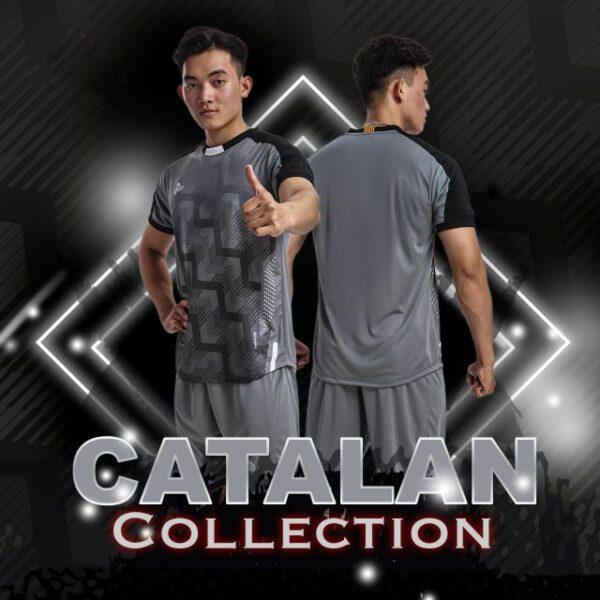 Áo bóng đá không logo thiết kế Just Play - CATALAN màu Xám