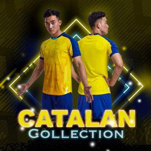 Áo bóng đá không logo thiết kế Just Play - CATALAN màu vàng