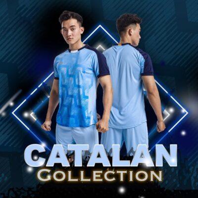Áo bóng đá không logo thiết kế Just Play - CATALAN màu Xanh da