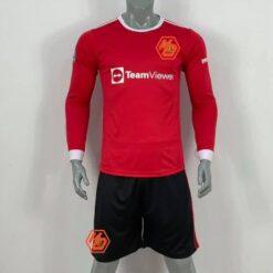 Quần áo bóng đá tay dài CLB M-U màu Đỏ mùa giải 21-22