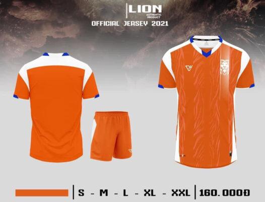 Quần áo bóng đá không logo VH - LION màu Cam