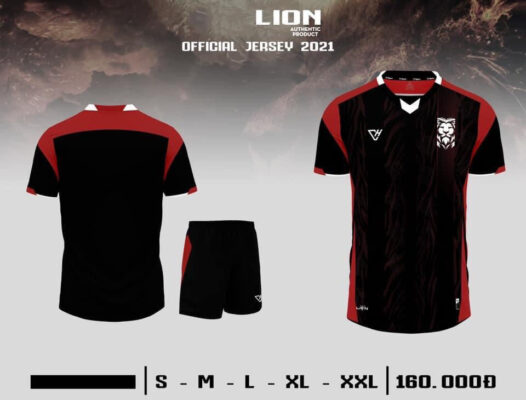 Quần áo bóng đá không logo VH - LION màu Đen