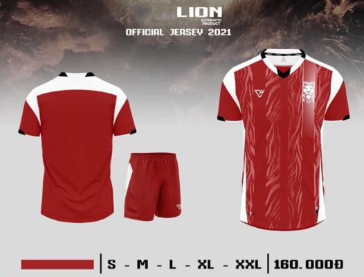 Quần áo bóng đá không logo VH - LION màu Đỏ
