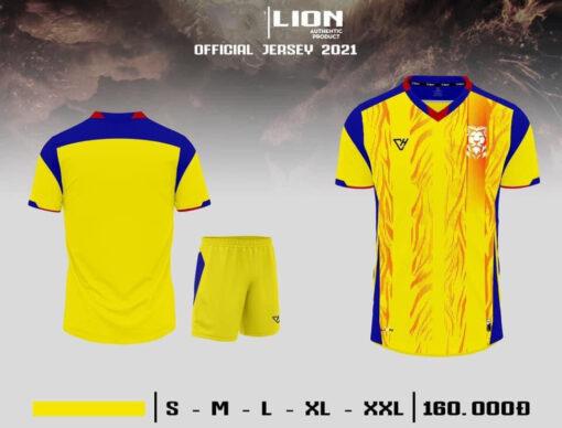 Quần áo bóng đá không logo VH - LION màu Vàng
