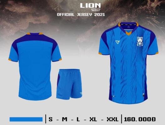 Quần áo bóng đá không logo VH - LION màu Xanh da