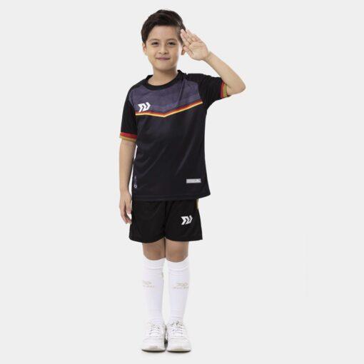 Bộ quần áo bóng đá trẻ em Euro Đức Đen