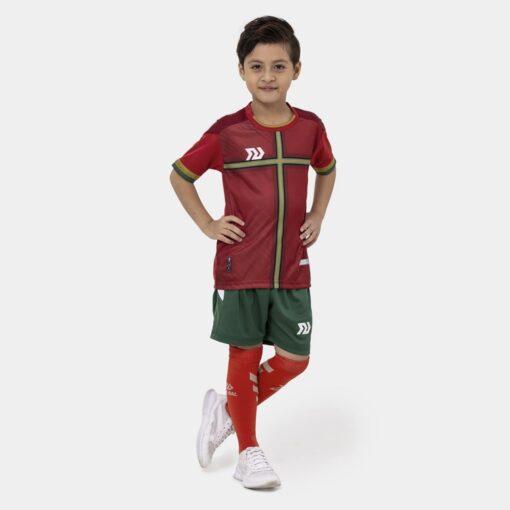 Bộ quần áo bóng đá trẻ em Euro Bồ Đào Nha Đỏ đô