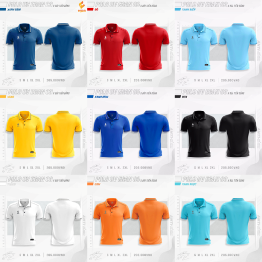 Áo POLO UV EGAN 3 vải mè cao cấp 9 màu