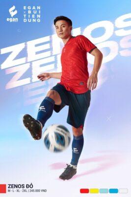 Áo bóng đá không logo thiết kế cao cấp Egan ZENOS màu đỏ