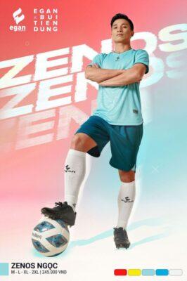Áo bóng đá không logo thiết kế cao cấp Egan ZENOS màu xanh ngọc