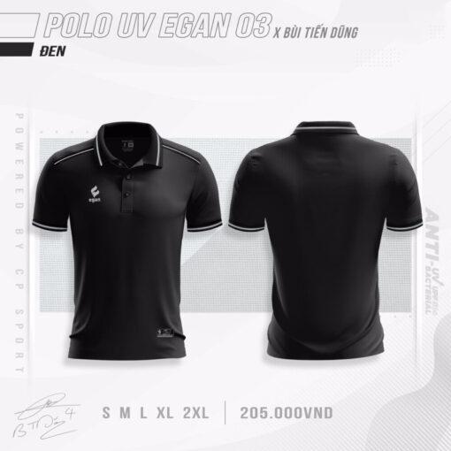 Áo POLO UV EGAN 3 vải mè cao cấp màu đen