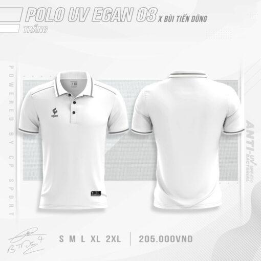 Áo POLO UV EGAN 3 vải mè cao cấp màu Trắng