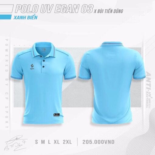 Áo POLO UV EGAN 3 vải mè cao cấp màu xanh biển