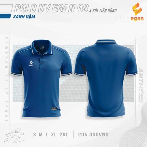 Áo POLO UV EGAN 3 vải mè cao cấp màu xanh đen