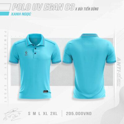 Áo POLO UV EGAN 3 vải mè cao cấp màu xanh ngọc