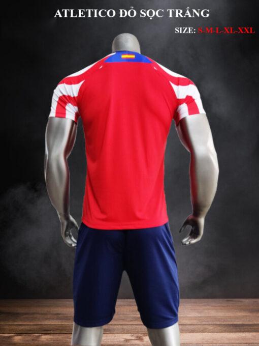 Quần áo bóng đá CLB Atletico màu Đỏ sọc Trắng 21-22 mặt lưng