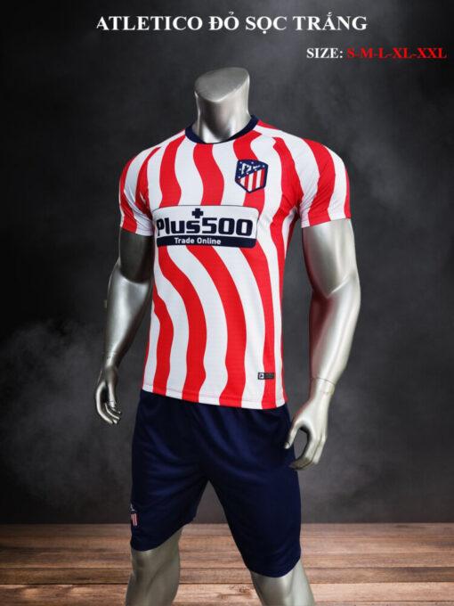 Quần áo bóng đá CLB Atletico màu Đỏ sọc Trắng 21-22 nghiêng