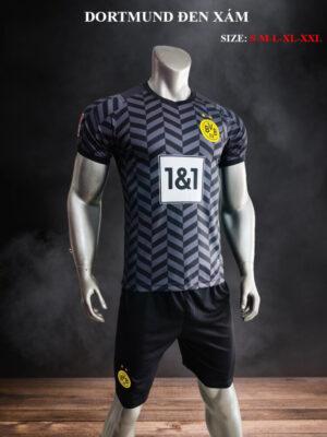 Quần áo bóng đá Dortmund màu Đen Xám 21-22 mặt lưng mặt nghiêng