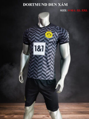 Quần áo bóng đá Dortmund màu Đen Xám 21-22 mặt lưng nghiêng