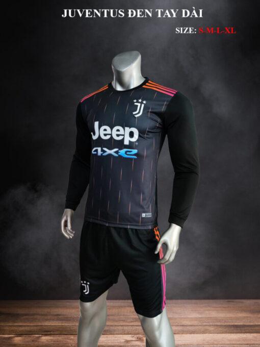 Quần áo bóng đá tay dài CLB Juventus màu Đen mùa giải 21-22 nghiêng