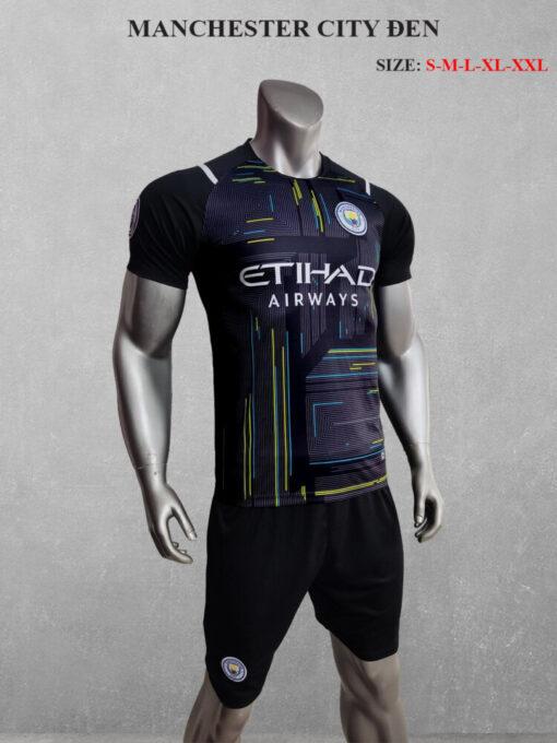 Quần áo bóng đá Man City màu Đen 21-22 nghiêng