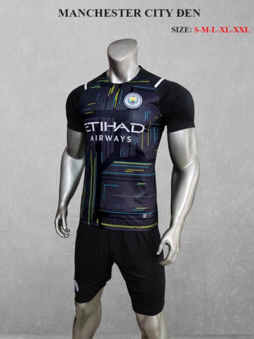 Quần áo bóng đá Man City màu Đen 21-22 mặt nghiêng